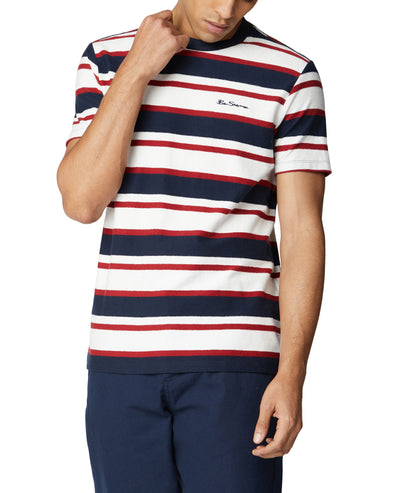 Reverse Loopback Stripe Tee - Dark Navy