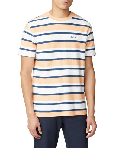 Reverse Loopback Stripe Tee - Peach