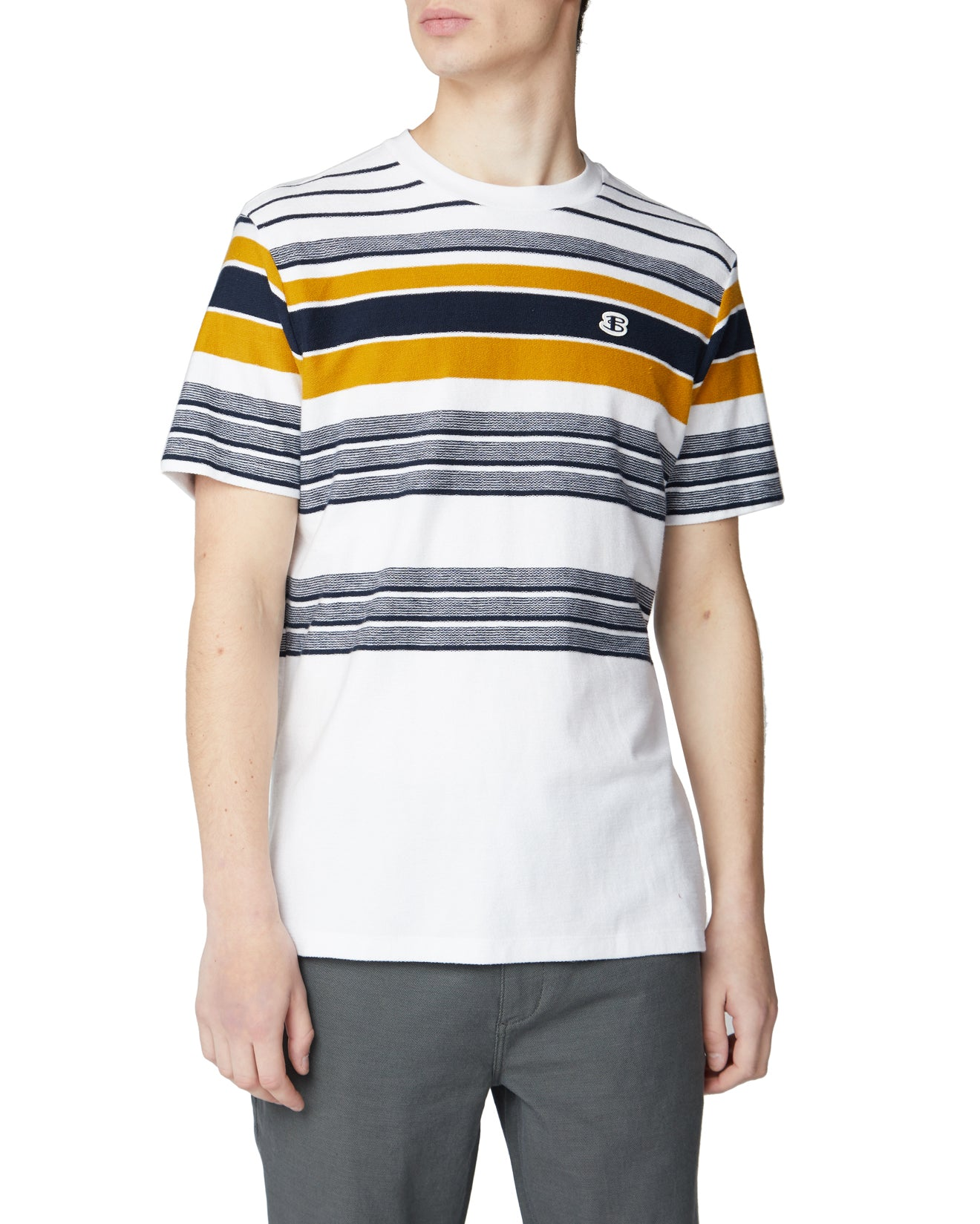 Reverse Knit Stripe Tee - Snow White