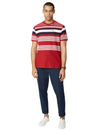 Reverse Knit Stripe Tee - Red