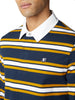 Striped Rugby Polo Shirt - Dark Navy