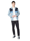 Color Block Tricot Jacket - Dusky Blue