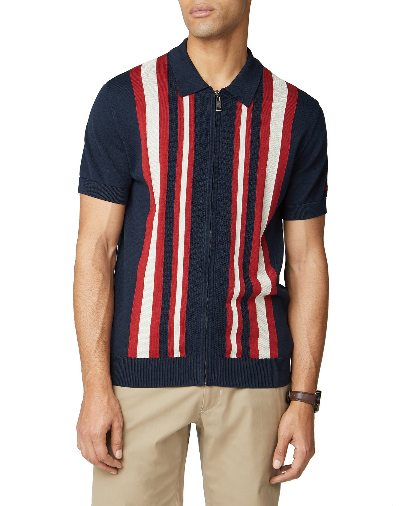Textured Stripe Zip-Through Polo - Dark Navy