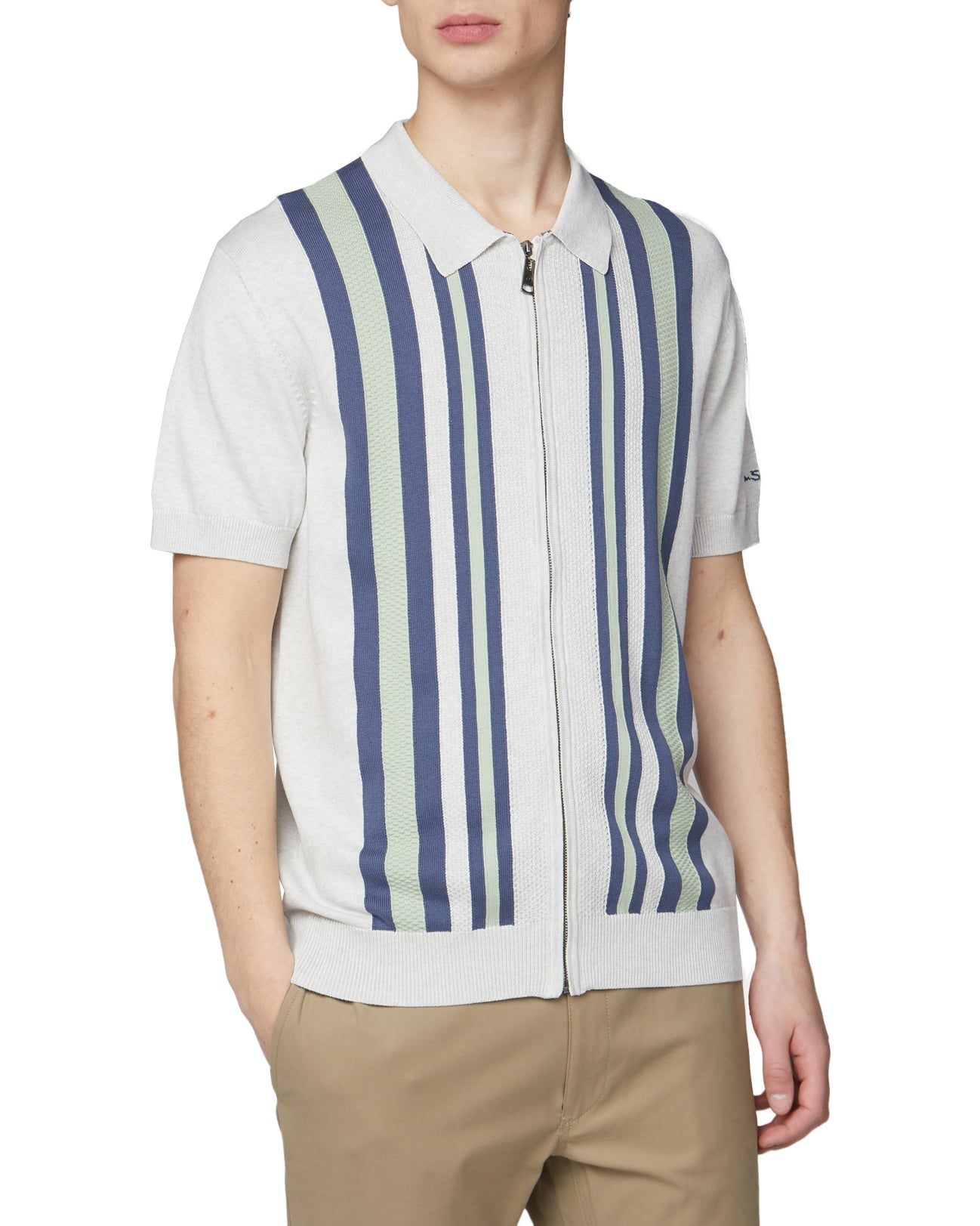 Textured Stripe Zip-Through Polo - Snow White
