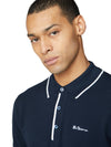 Textured Knit Polo Shirt - Dark Navy