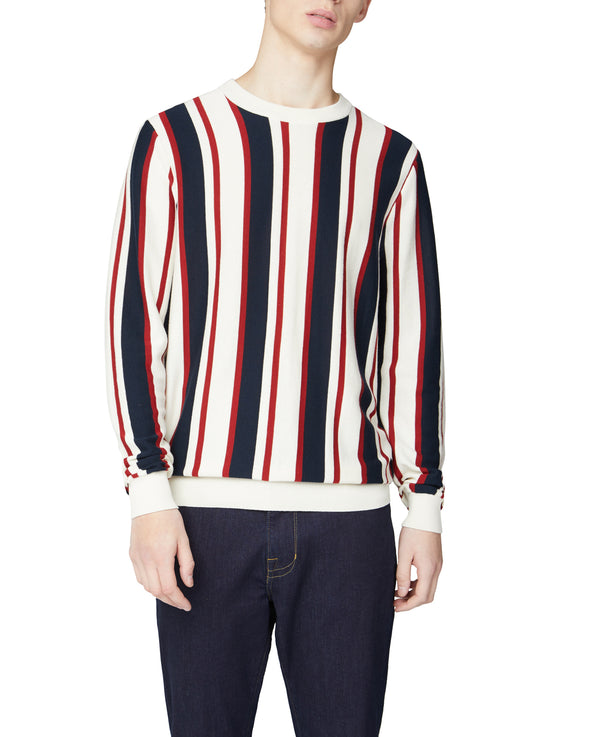 Knitted Mod Stripe Crewneck Sweater - Ivory
