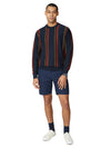 Knitted Mod Stripe Crewneck Sweater - Dark Navy