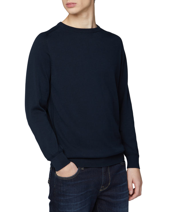 Signature Cotton Crewneck Sweater - Dark Navy