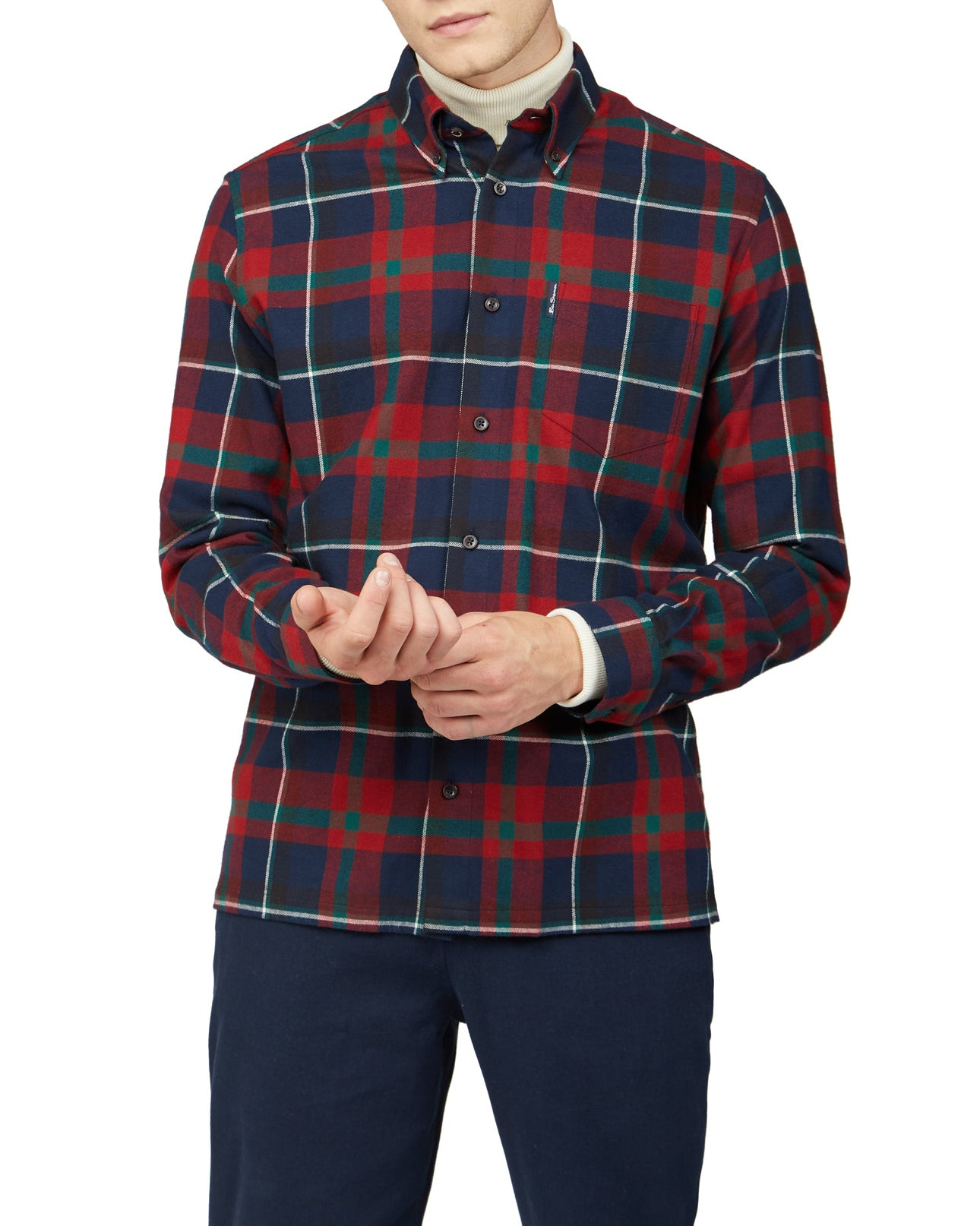 Oversized Brushed Tartan Shirt - Red