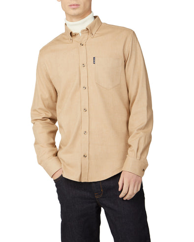 Brushed Herringbone Shirt - Sand