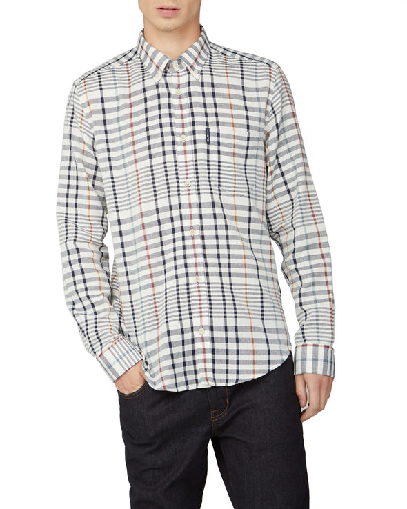 Oversized Stripe Check Shirt - Snow White