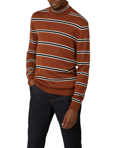 Stripe Roll Neck Sweater - Chestnut