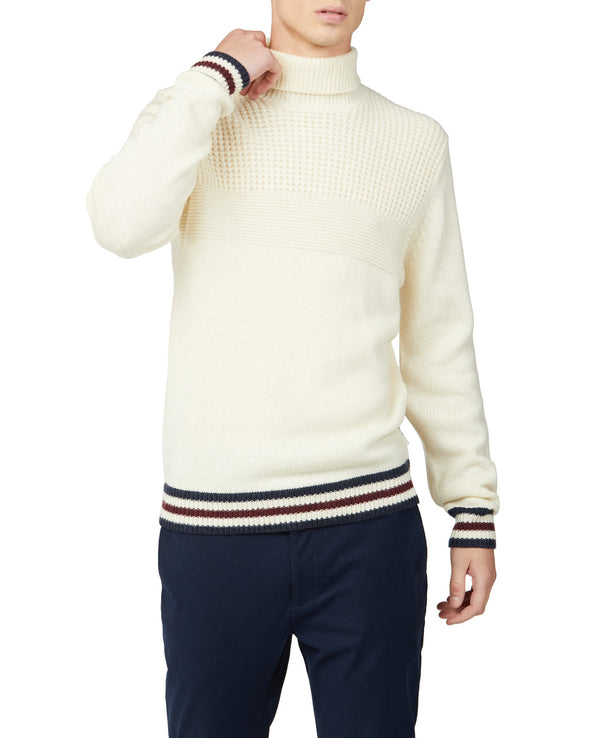 Textured Roll Neck Sweater - Ivory
