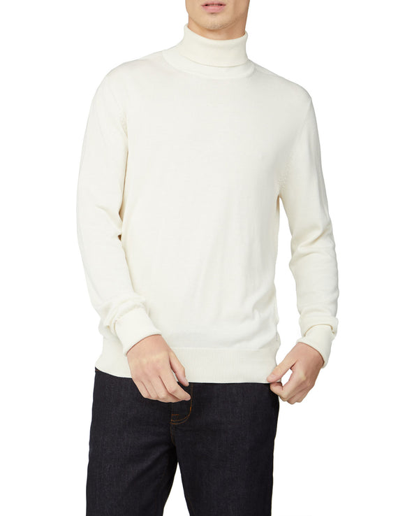Signature Cotton Roll Neck Sweater - Ivory