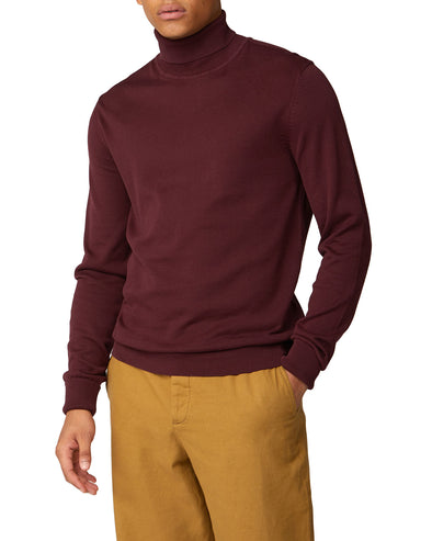 Signature Cotton Roll Neck Sweater - Port