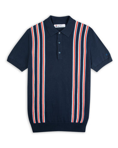 Team GB Men's Union Stripe Knit Polo - Midnight