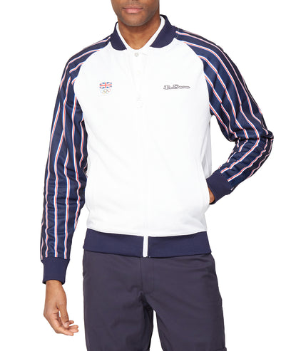 Team GB Men's Union Stripe Tricot Bomber - White