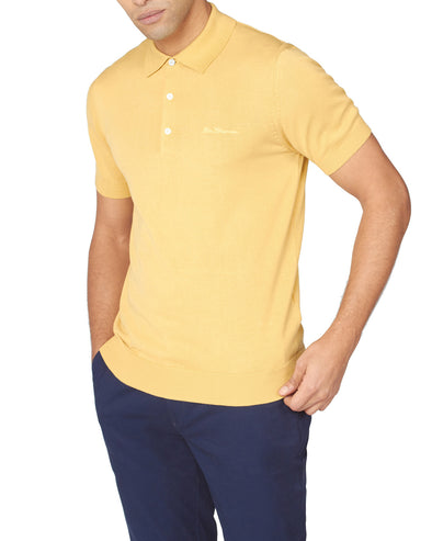 Short-Sleeve Signature Knit Polo - Pale Yellow
