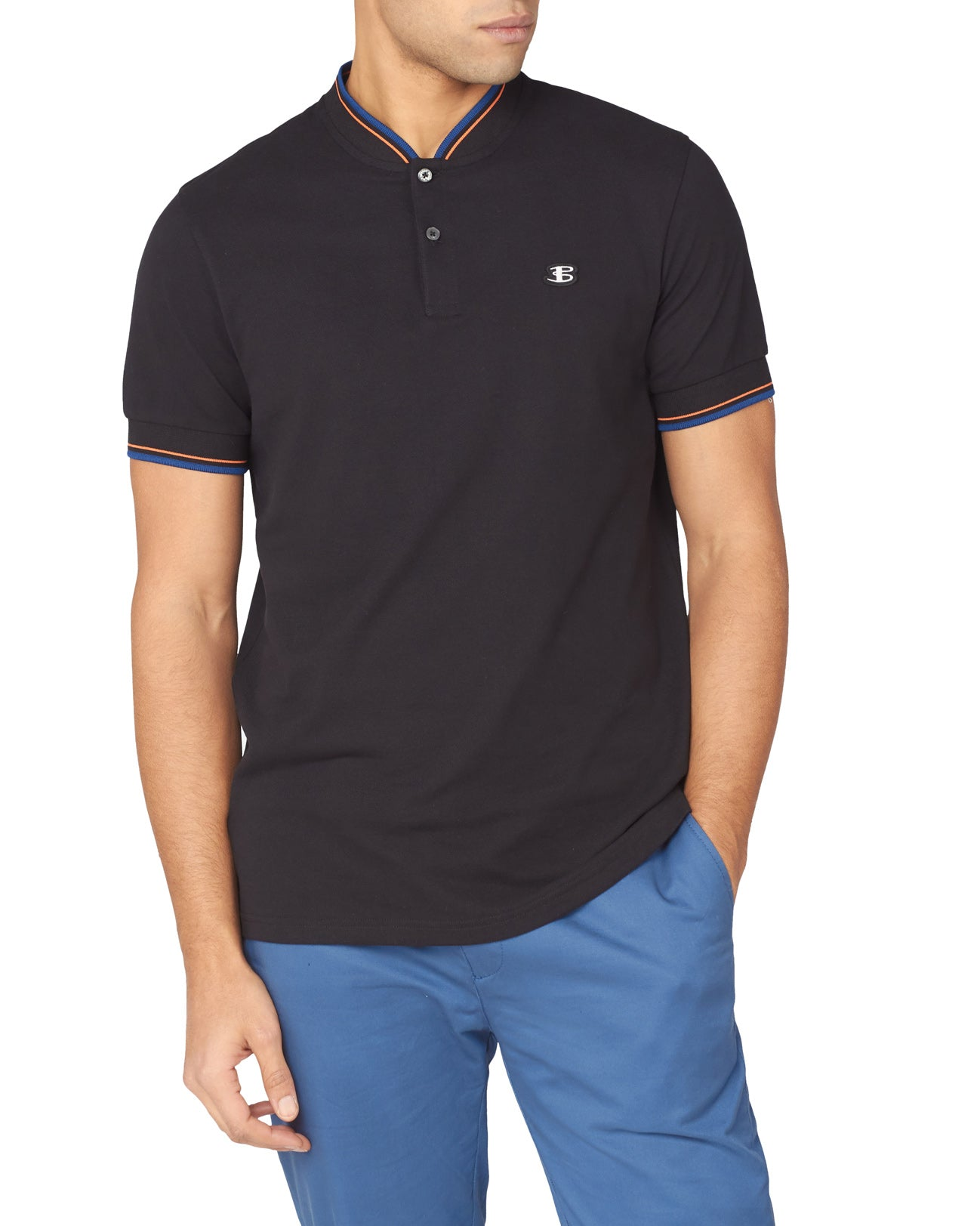 B by Ben Baseball-Collar Pique Polo - Black