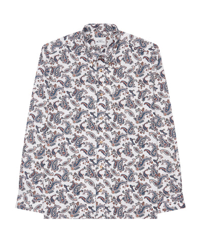 Long-Sleeve Paisley-Print Shirt - Ivory
