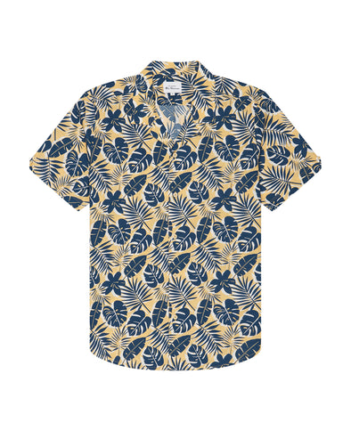 Short-Sleeve Botanical-Print Shirt - Pale Yellow