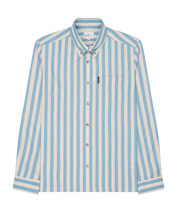 Long-Sleeve Candy-Stripe Shirt - Riviera Blue