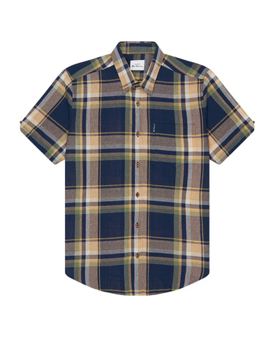 Short-Sleeve Large-Check Oxford Shirt - Marine