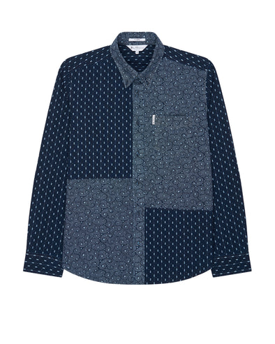 Long-Sleeve Archive Indigo Geo Patchwork Shirt - Marine