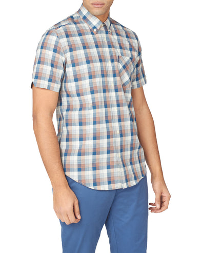Short-Sleeve Gradient Check Shirt - Sea