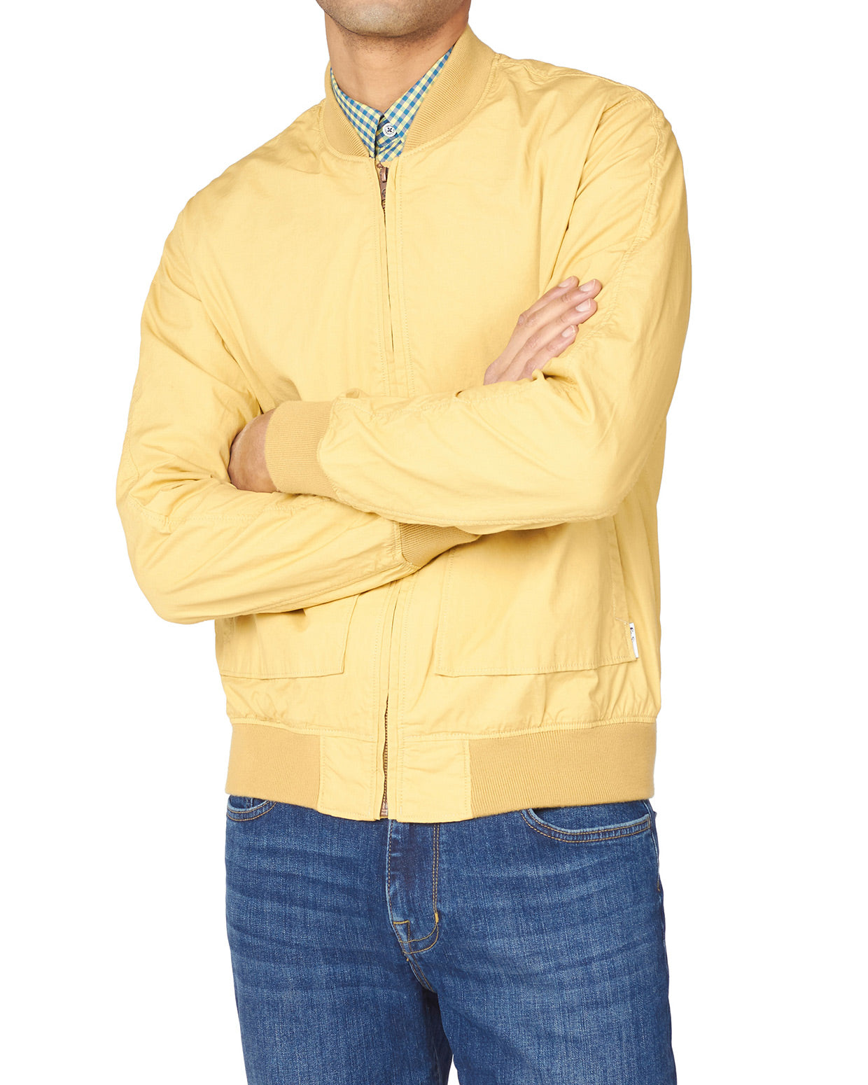 Laundered Bomber Jacket - Pale Yellow