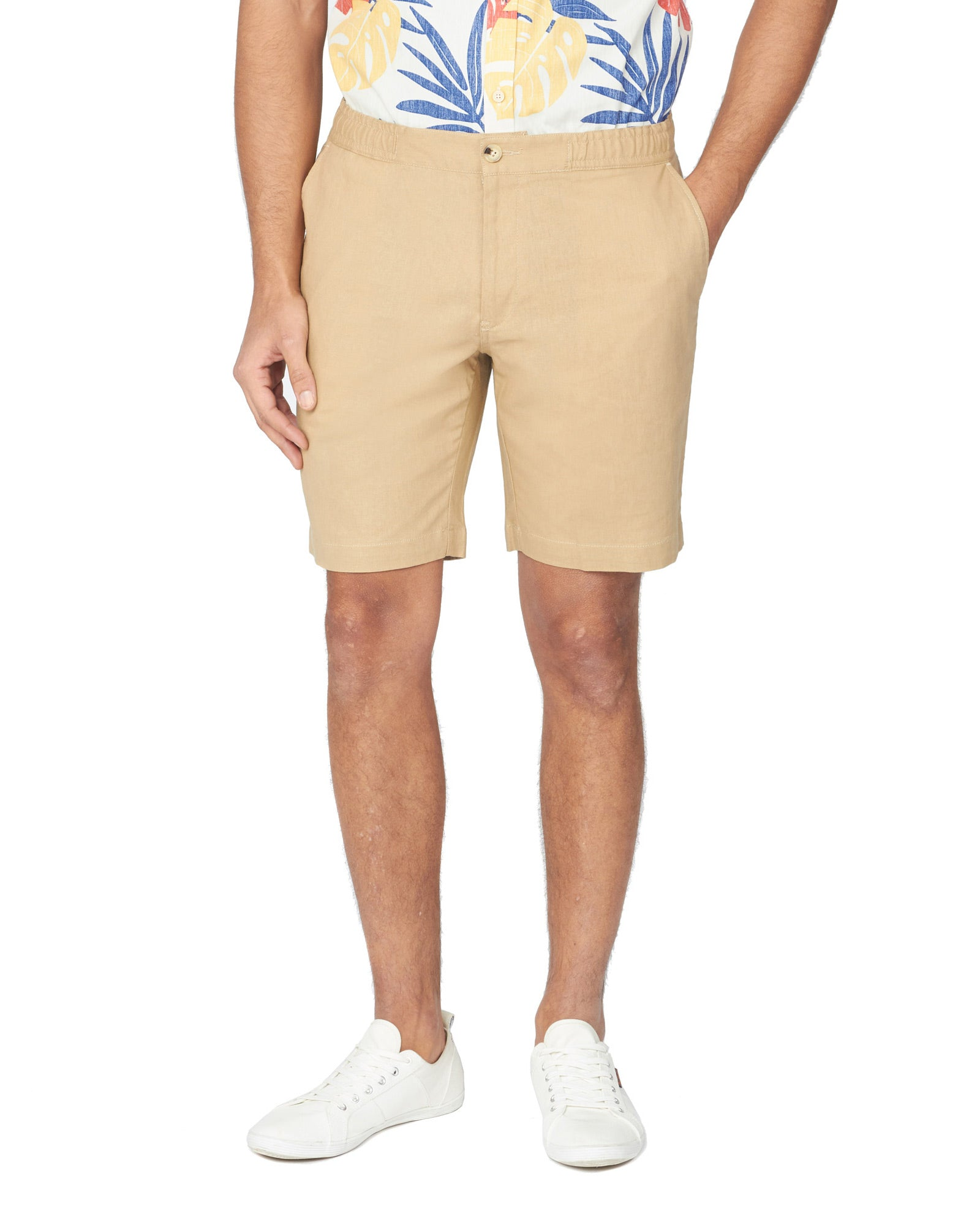 Drawcord Cotton/Linen Short - Sand