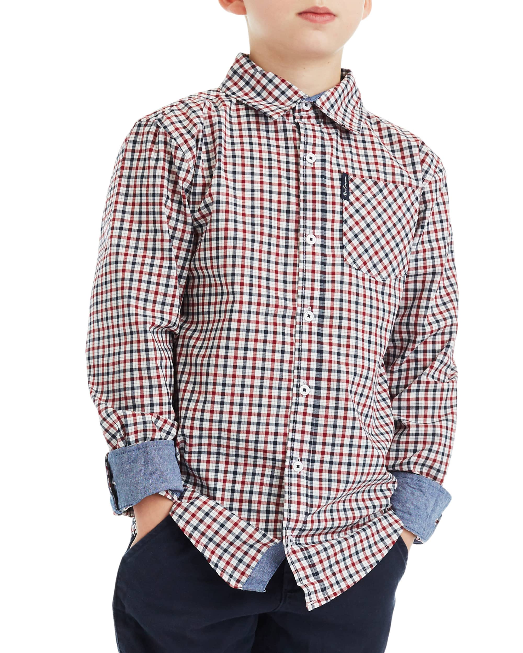 Boys' Red/White/Blue Long-Sleeve Plaid Button-Down Shirt (Sizes 4-7)