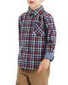 Boys' Red/Blue Long-Sleeve Plaid Button-Down Shirt (Sizes 4-7)