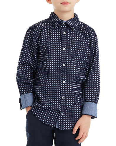 Boys' Navy Long-Sleeve Square Print Button-Down Shirt (Sizes 4-7)