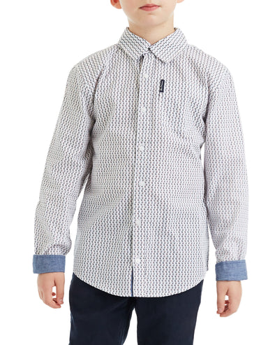 Boys' White/Black Long-Sleeve Dotted Print Button-Down Shirt (Sizes 4-7)