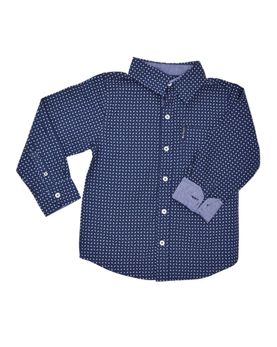 Boys' Navy Small Paisley Print Button-Down Shirt (Sizes 4-7)