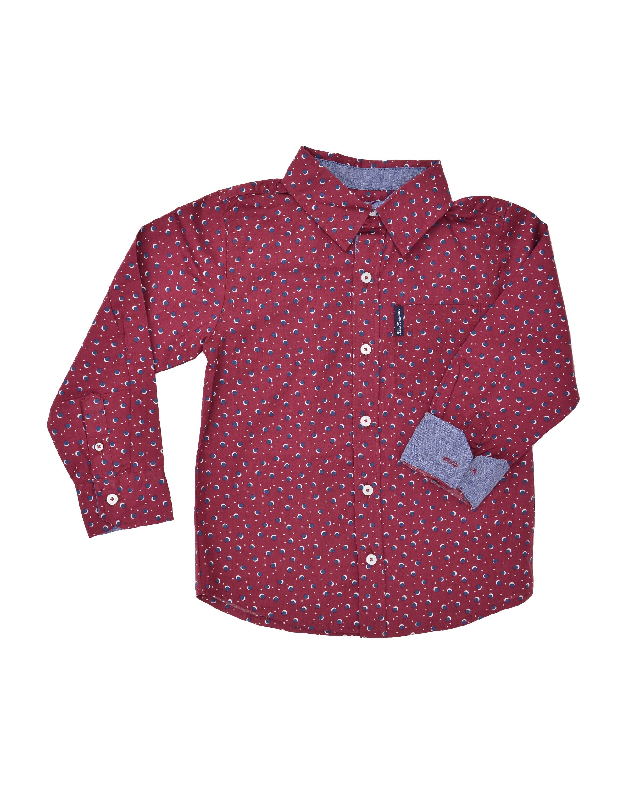 Boys' Red Button-Down Shirt with Navy Dot Pattern (Sizes 4-7)