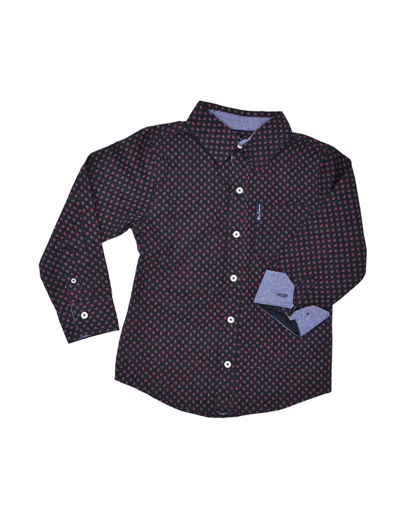 Boys' Black with Red Printed Button-Down Shirt (Sizes 4-7)