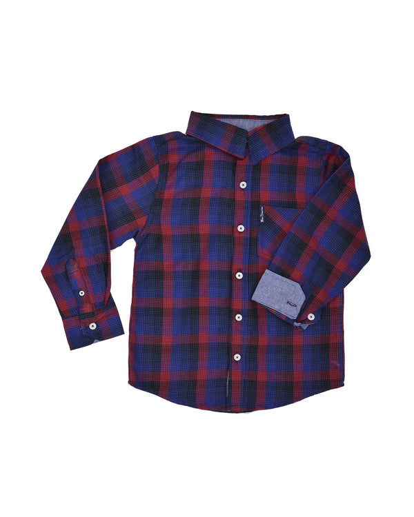 313158c5e Boys' Black/Blue/Red Plaid Button-Down Shirt (Sizes ...