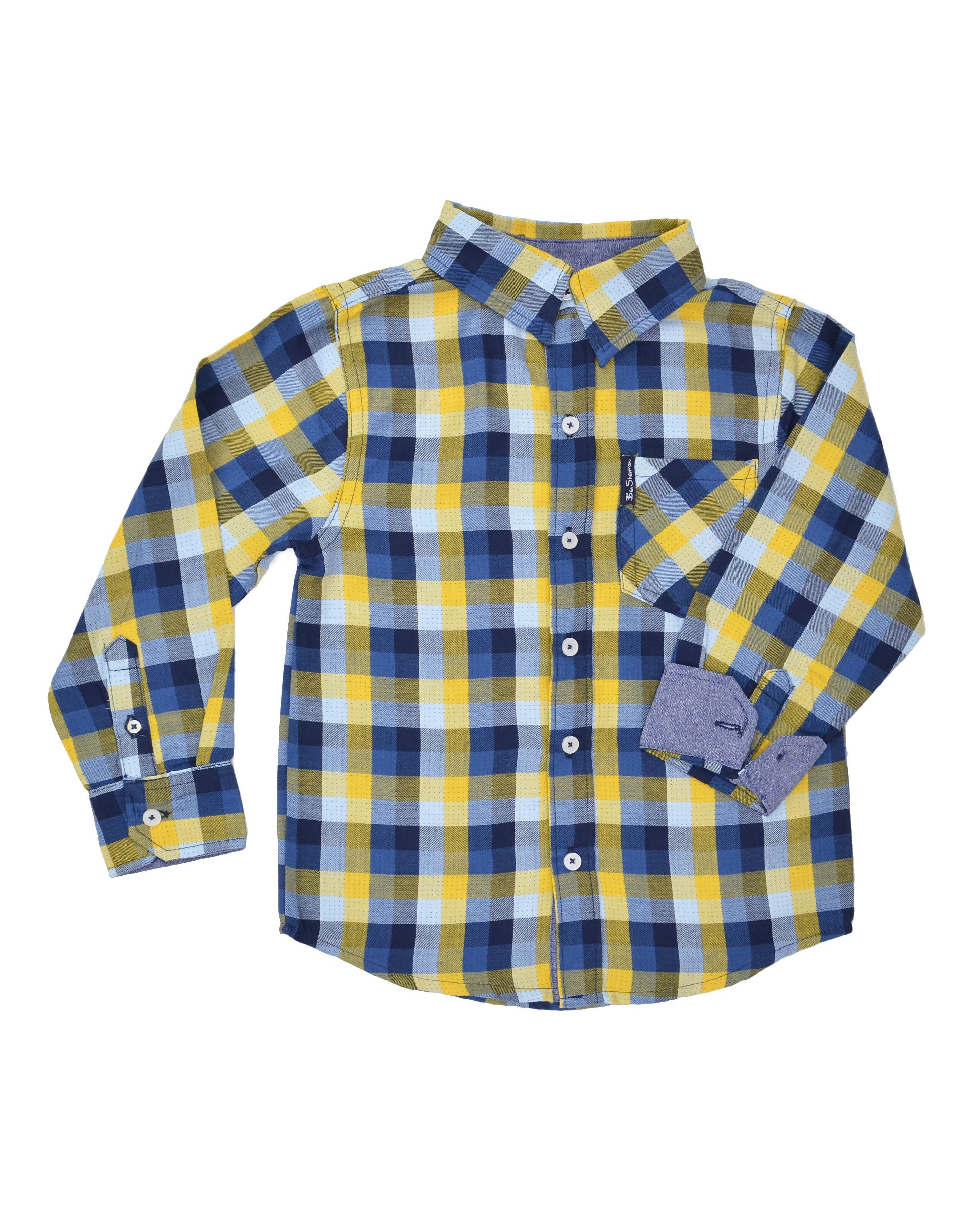 75f9d37ed Boys' Blue/Yellow Plaid Gingham Button-Down Shirt (Sizes 4-7. Hover or Click  to Enlarge