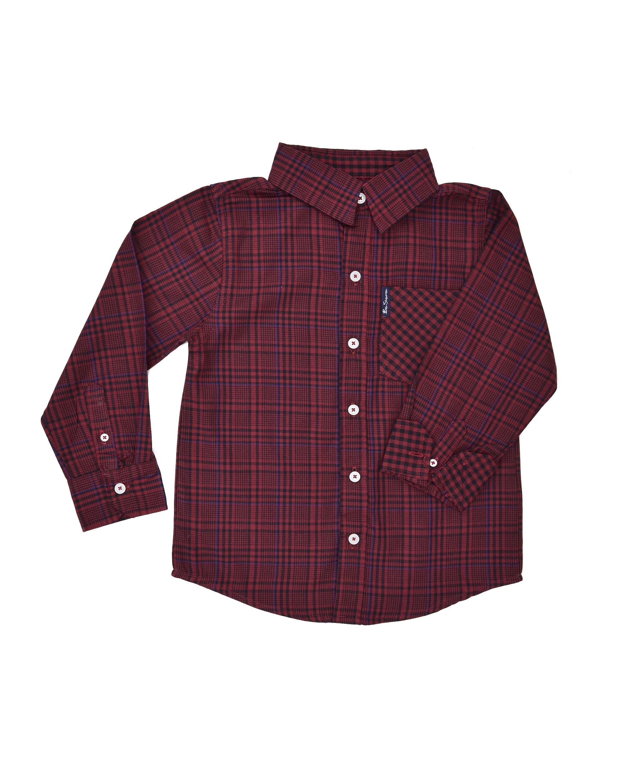 Boys' Red & Black Plaid with Blue Yarn Dyed Shirt (Sizes 4-7)