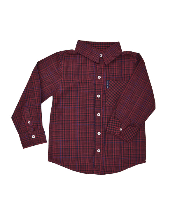 a74372f32 Boys' Red & Black Plaid with Blue Yarn Dyed Shirt (Sizes ...