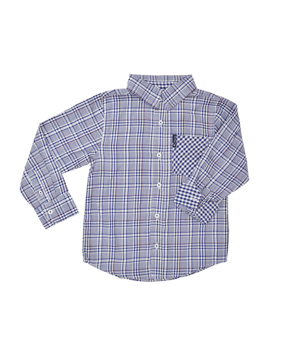 Boys' Blue Plaid & Gingham Yarn Dyed Shirt (Sizes 4-7)