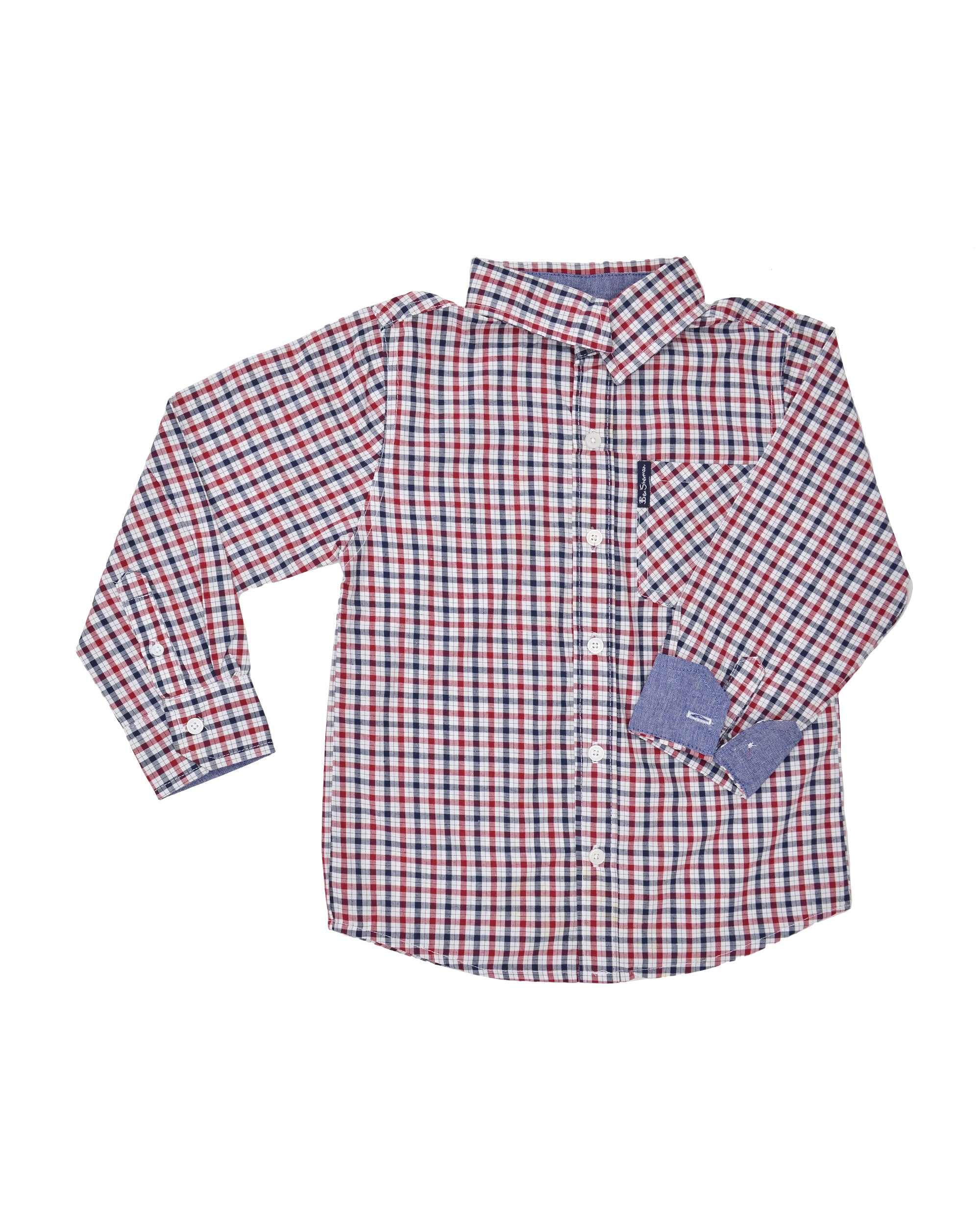 e85491467 Boys' Red & Blue Gingham Plaid Yarn Dyed Shirt (Sizes 8-18). Hover or Click  to Enlarge