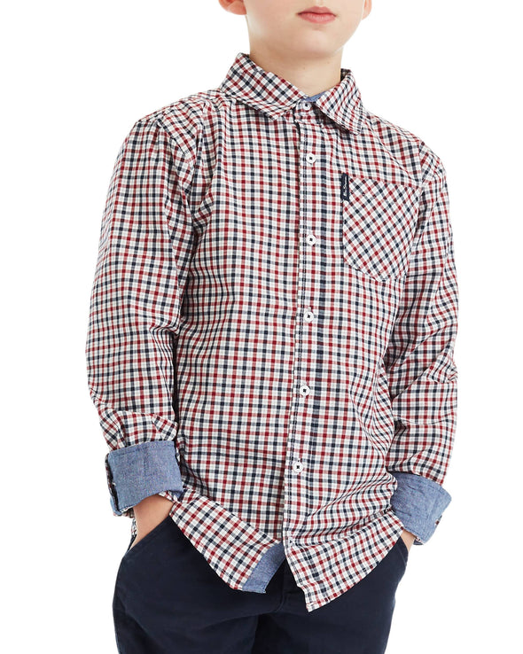 Boys' Red/White/Blue Long-Sleeve Plaid Button-Down Shirt (Sizes 8-18)