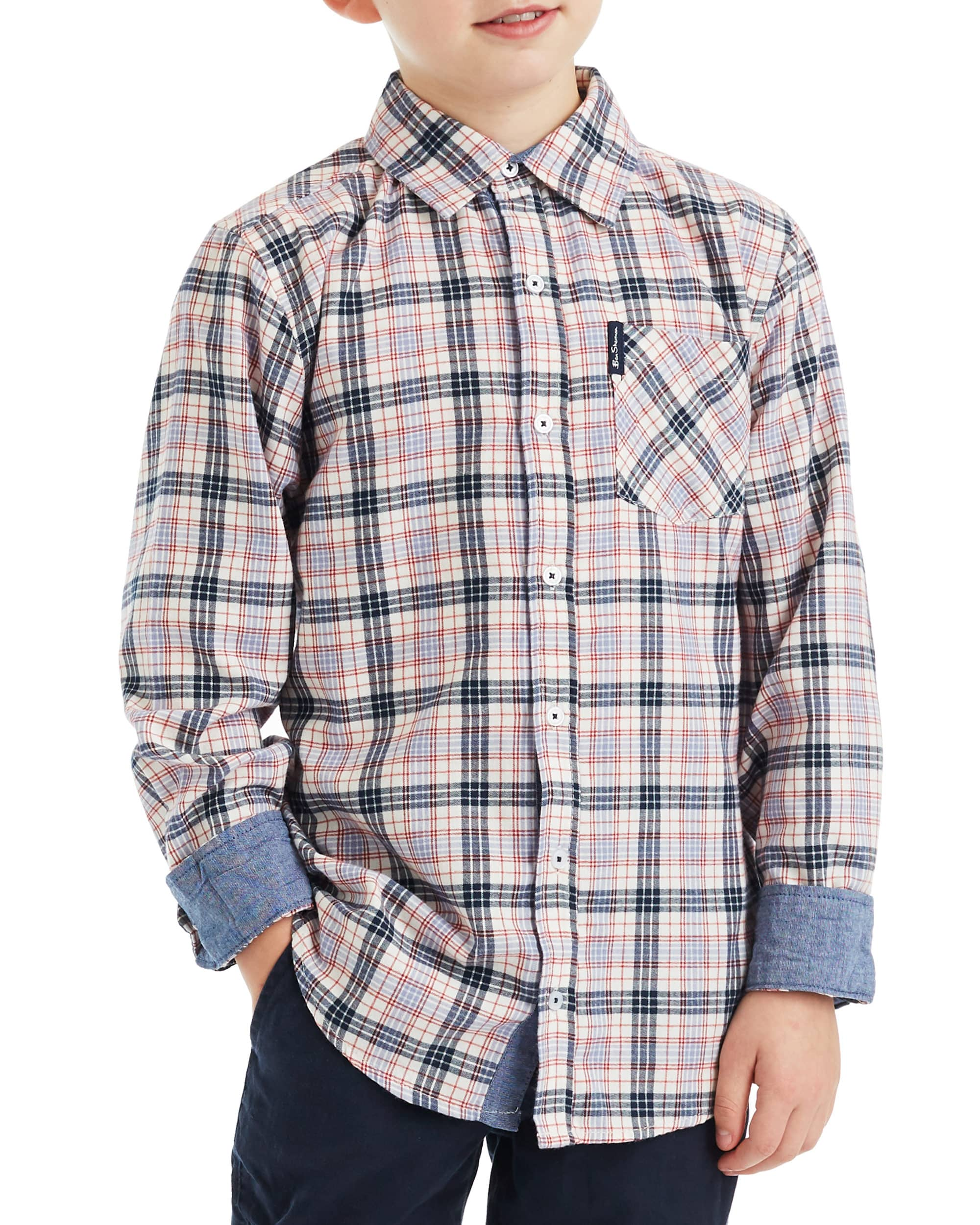 Boys' White/Blue/Red Long-Sleeve Plaid Button-Down Shirt (Sizes 8-18)
