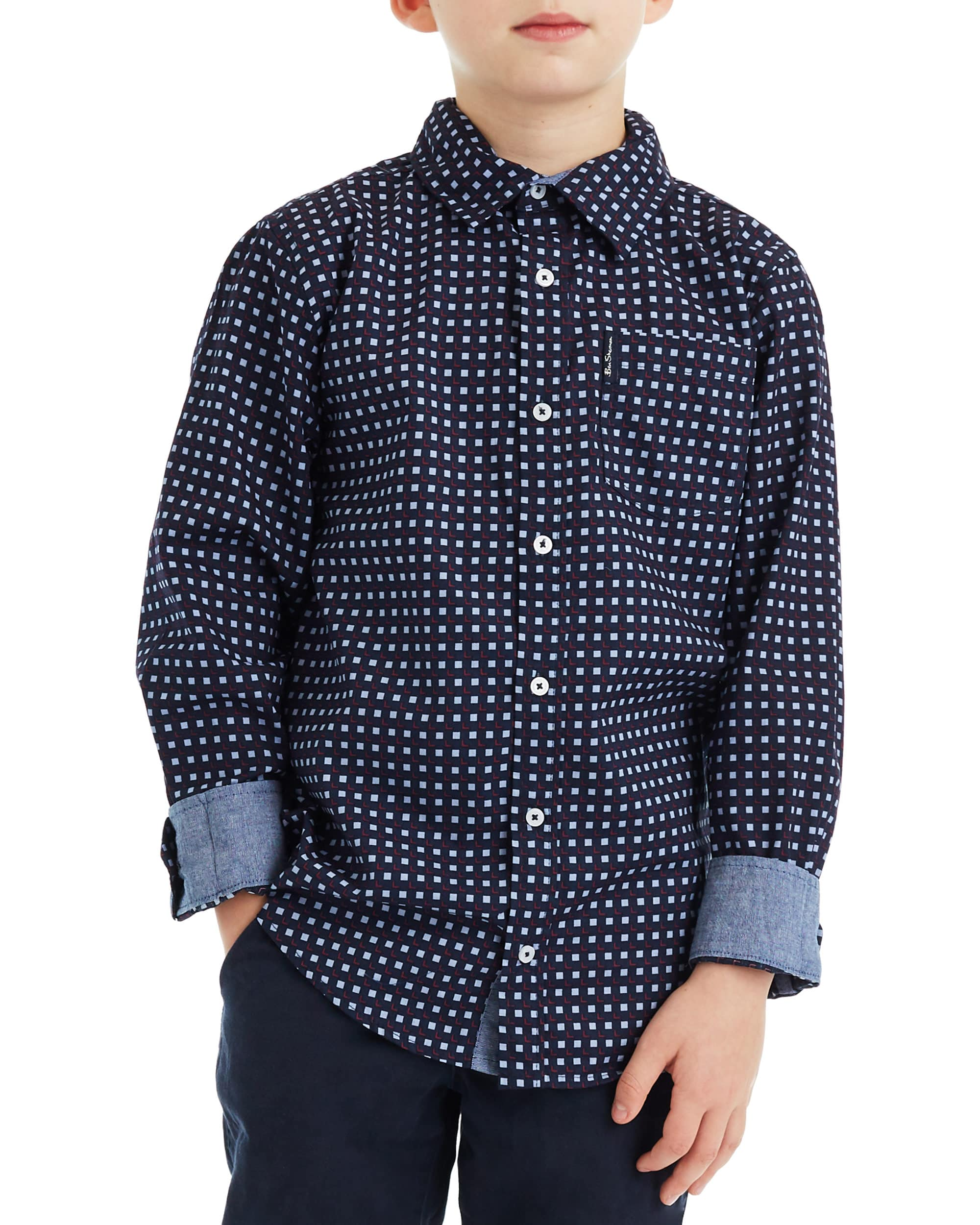 Boys' Navy Long-Sleeve Square Print Button-Down Shirt (Sizes 8-18)
