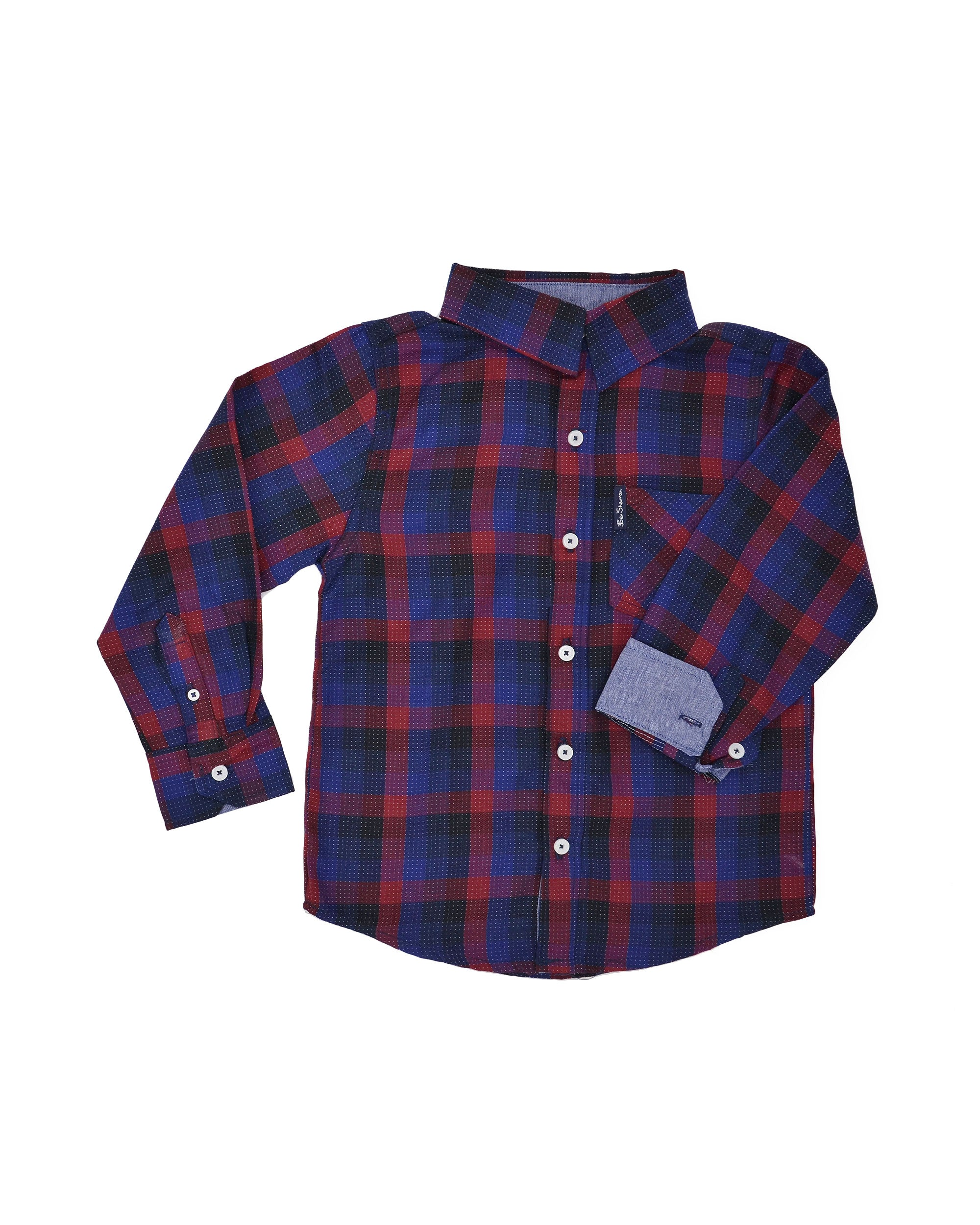 Boys' Black/Blue/Red Plaid Button-Down Shirt (Sizes 8-18)