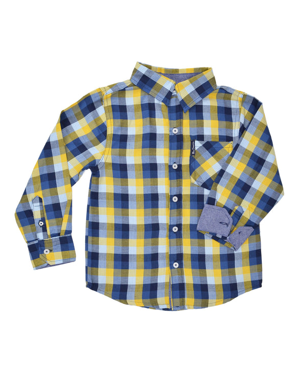 Boys' Blue/Yellow Plaid Gingham Button-Down Shirt (Sizes 8-18)