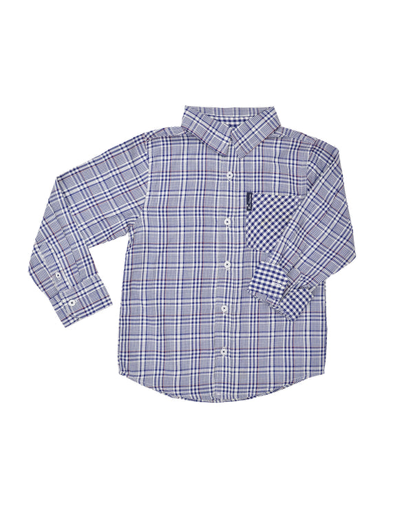 38ab816c5 Boys' Blue Plaid & Gingham Yarn Dyed Shirt (Sizes ...